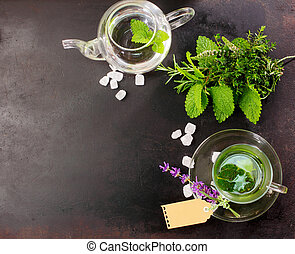 Fresh brewed peppermint tea with fresh ingredients