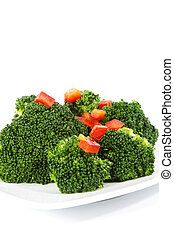 Fresh Broccoli and Light Oil Dressing with Red Peppers