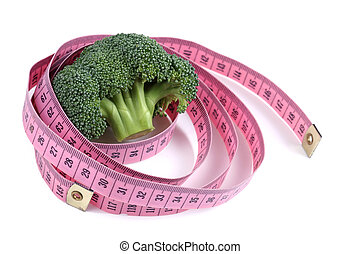 broccoli - fresh broccoli and ping measure tape isolated on...