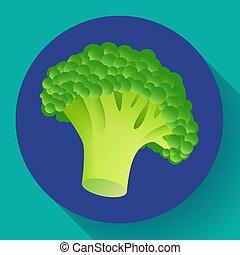 Fresh broccoli icon. Realistic illustration of fresh...