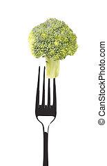 Fresh broccoli on a fork