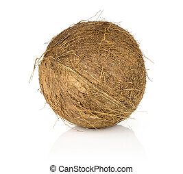 Fresh brown coconut isolated on white