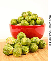 Fresh Brussels sprouts in a bowl