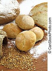 Fresh bun and bread
