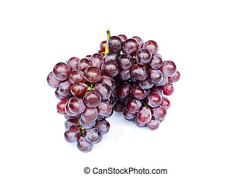 Fresh Bunch of grapes fruits macro close up on white backgrounds - Include clipping path