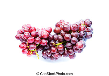 Fresh Bunch of red grapes on white backgrounds above