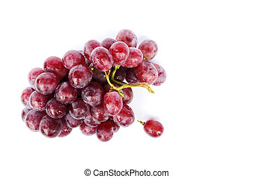 Fresh Bunch of red grapes on white backgrounds include clipping path