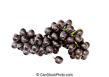 fresh bunch of ripe grapes and isolated on white