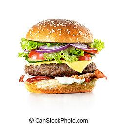 Fresh burger isolated on white background