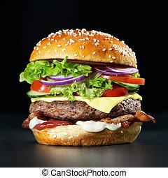 Fresh burger on dark background