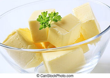 Fresh butter - Blocks of fresh butter in a bowl