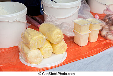 Fresh butter ready to sale at the farmers market