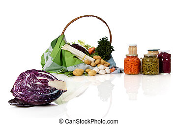 Fresh cabbage, canned and fresh vegetables