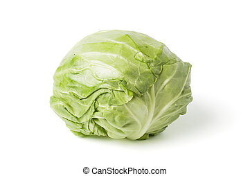 Fresh cabbage head isolated on white