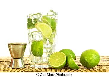 Caipirinha - fresh Caipirinha with lemon on white background...
