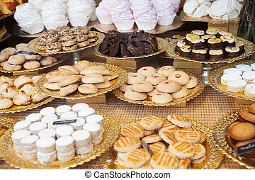 fresh cakes at shop window