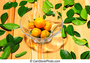 Fresh calamondin fruits in the vase