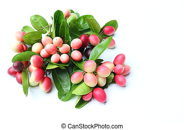 Fresh carissa carandas fruits on white background