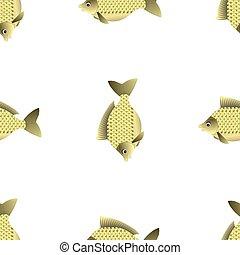 Fresh Carp Isolated. Seamless Fish Pattern