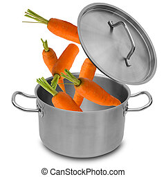 Fresh carrot falling into stainless steel pot