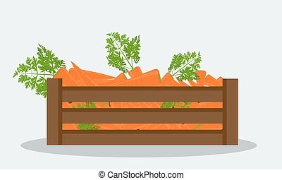 Fresh carrot, flat solid color style, realistic leaf health food