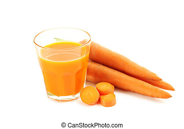 Fresh carrot juice in glass isolated on a white background
