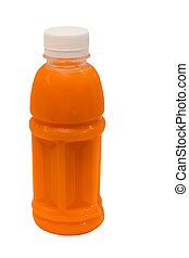 fresh carrot juice in plastic bottle isolated on white...