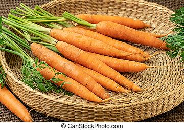Fresh carrot, root vegetable.