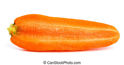 Fresh carrots cut along are isolated on a white background.