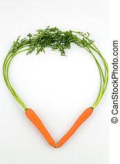 fresh carrots in heart shape