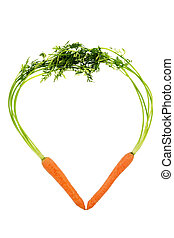 fresh carrots in heart shape