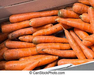 Fresh Carrots on Sale in Market