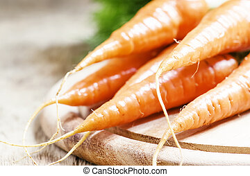 Fresh carrots, shallow depth of field, selective focus