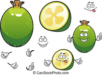 Fresh cartoon green feijoa fruit characters
