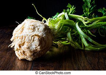 Fresh Celery Root with Leaf (Dark Moody)