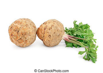 Fresh celery root with leaf isolated on white background