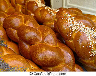 Fresh Challah bread in Paris from a Jewish bakery in the St....
