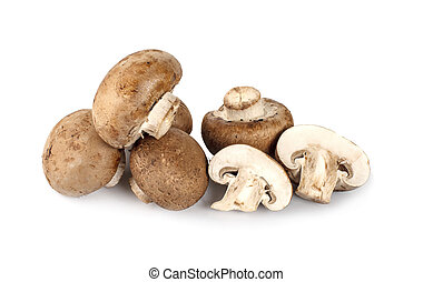 Fresh champignon mushrooms isolated on white background