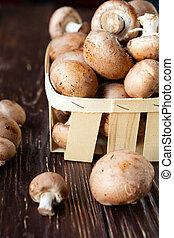 fresh champignons in a basket