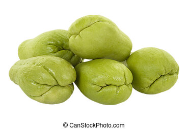 Fresh Chayote - Fresh chayote; isolated, two clipping paths...