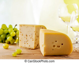 fresh cheese and green grape