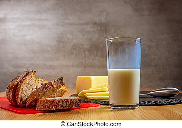 Fresh Cheese, Bread and a Glass of Milk