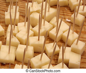 fresh cheese tastings with toothpicks