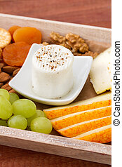 fresh cheese with fruits