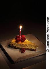 fresh cheesecake in the night