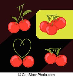 Fresh Cherries Vector Set