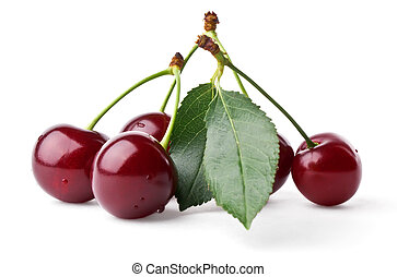Fresh cherries with leaf