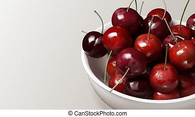 fresh cherries with white background 2