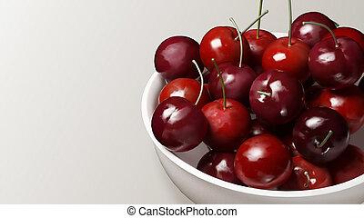 fresh cherries with white background
