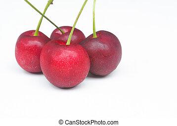 fresh cherry close up isolate on white background